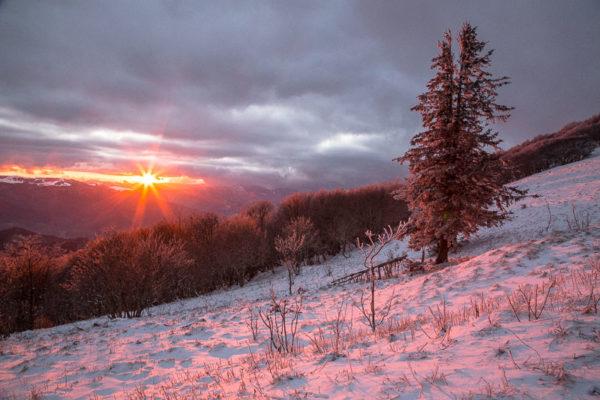 Coucher de soleil depuis le Grand Ballon dans les Vosges